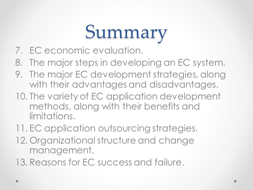 Summary EC economic evaluation.
