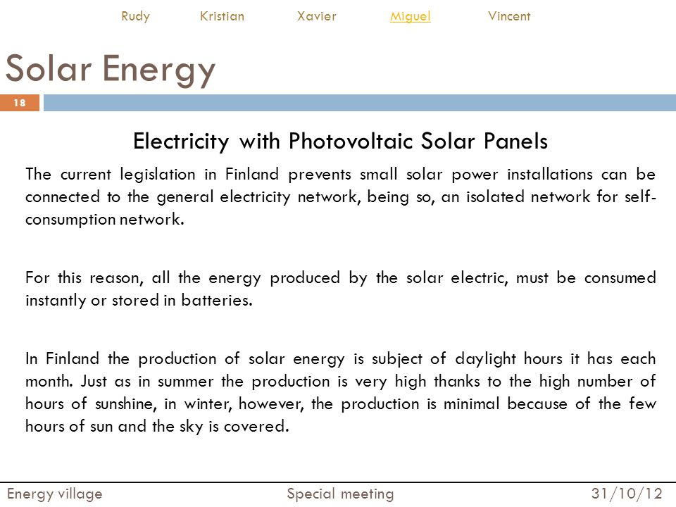 Electricity with Photovoltaic Solar Panels