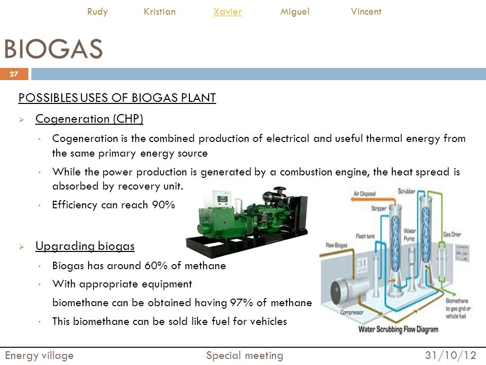 BIOGAS POSSIBLES USES OF BIOGAS PLANT Cogeneration (CHP)
