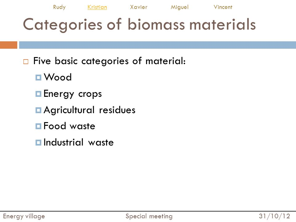 Categories of biomass materials