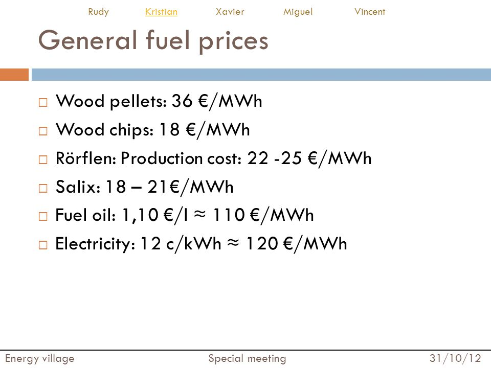 General fuel prices Wood pellets: 36 €/MWh Wood chips: 18 €/MWh
