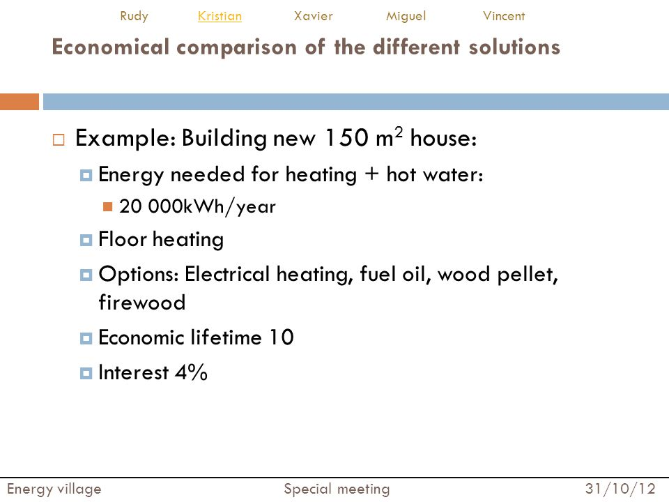 Economical comparison of the different solutions