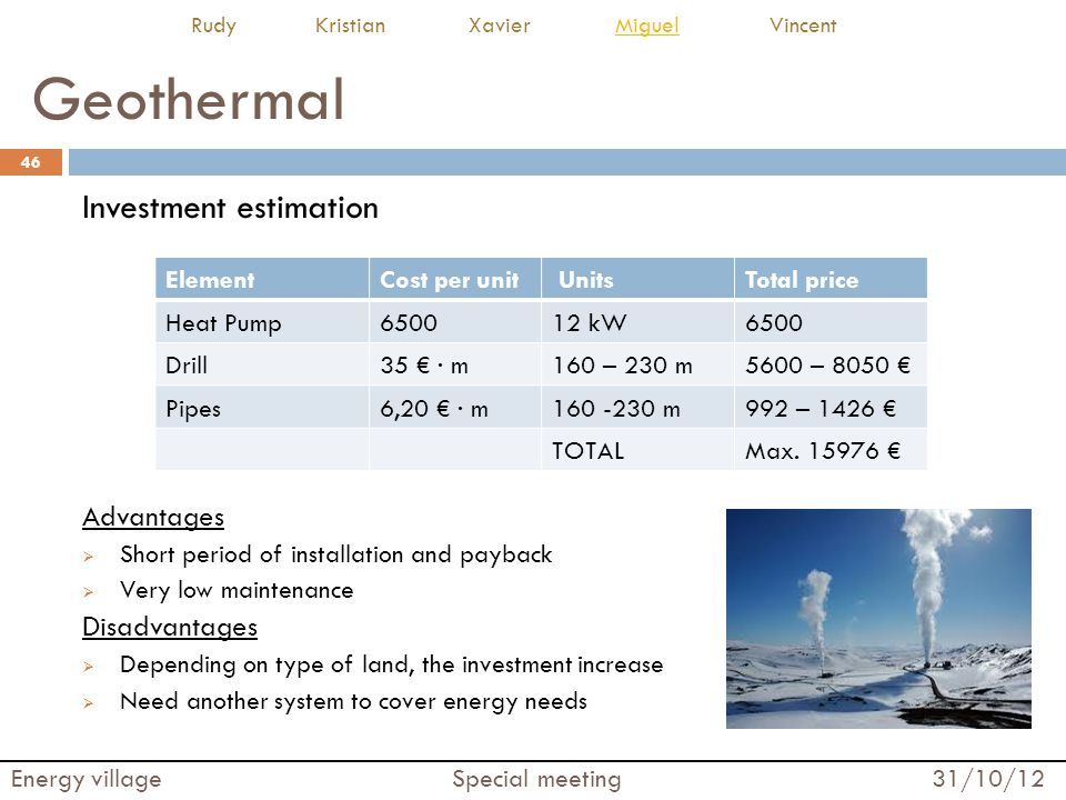 Geothermal Investment estimation Advantages Disadvantages