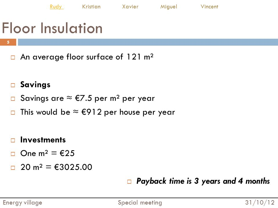 Floor Insulation An average floor surface of 121 m² Savings