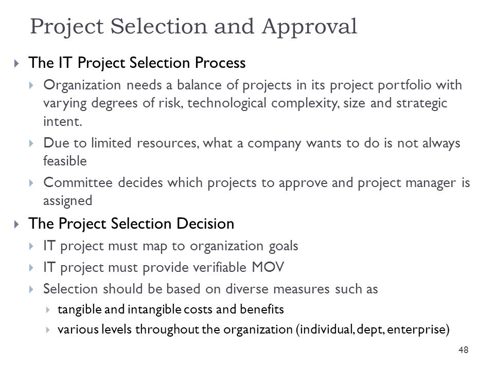 Project Selection and Approval