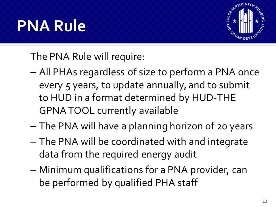 PNA Rule The PNA Rule will require:
