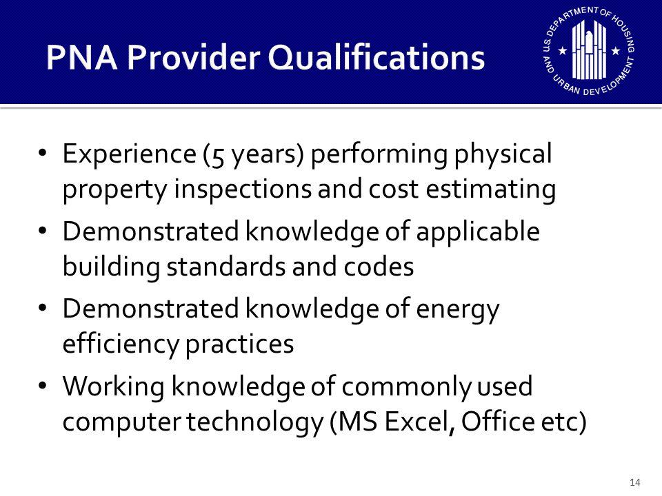 PNA Provider Qualifications