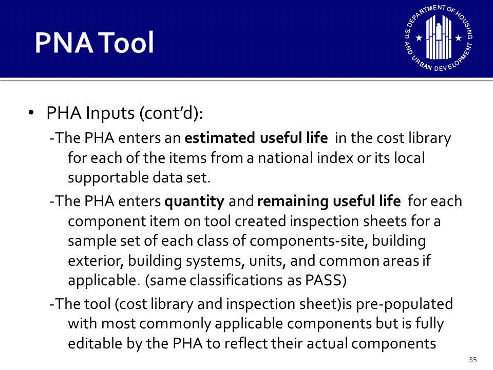 PNA Tool PHA Inputs (cont'd):