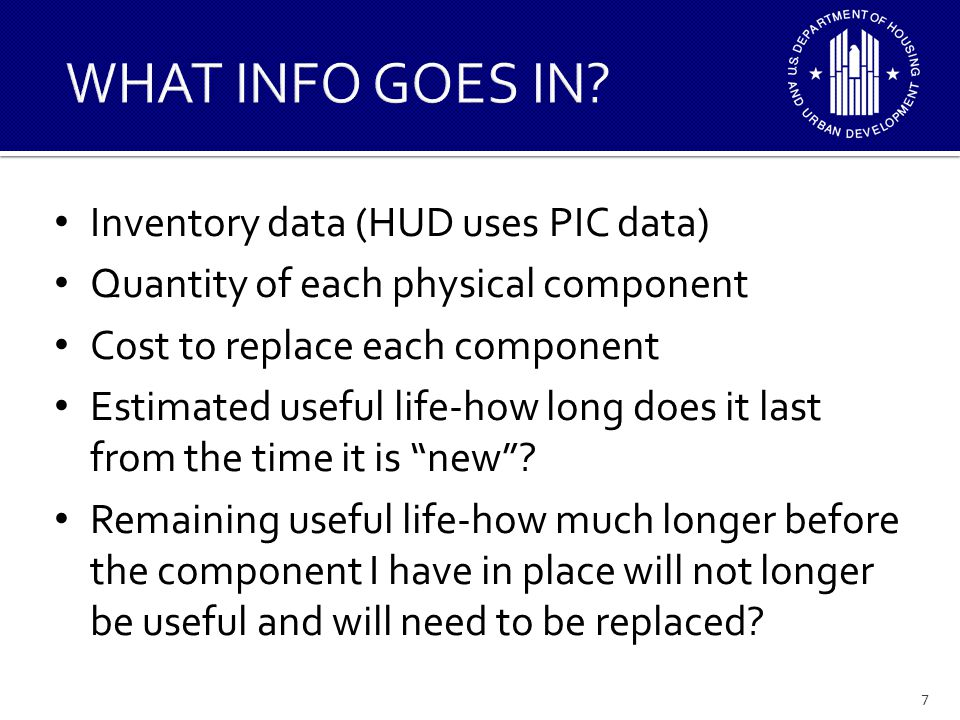 WHAT INFO GOES IN Inventory data (HUD uses PIC data)