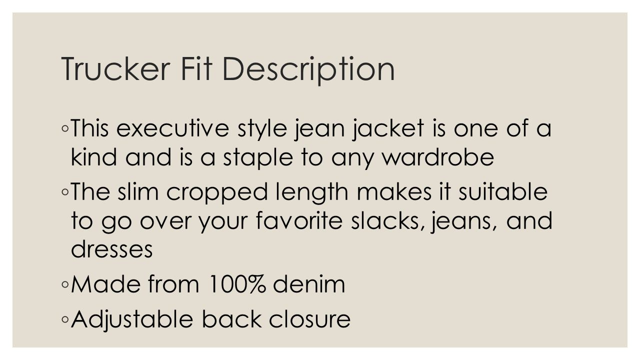 Trucker Fit Description