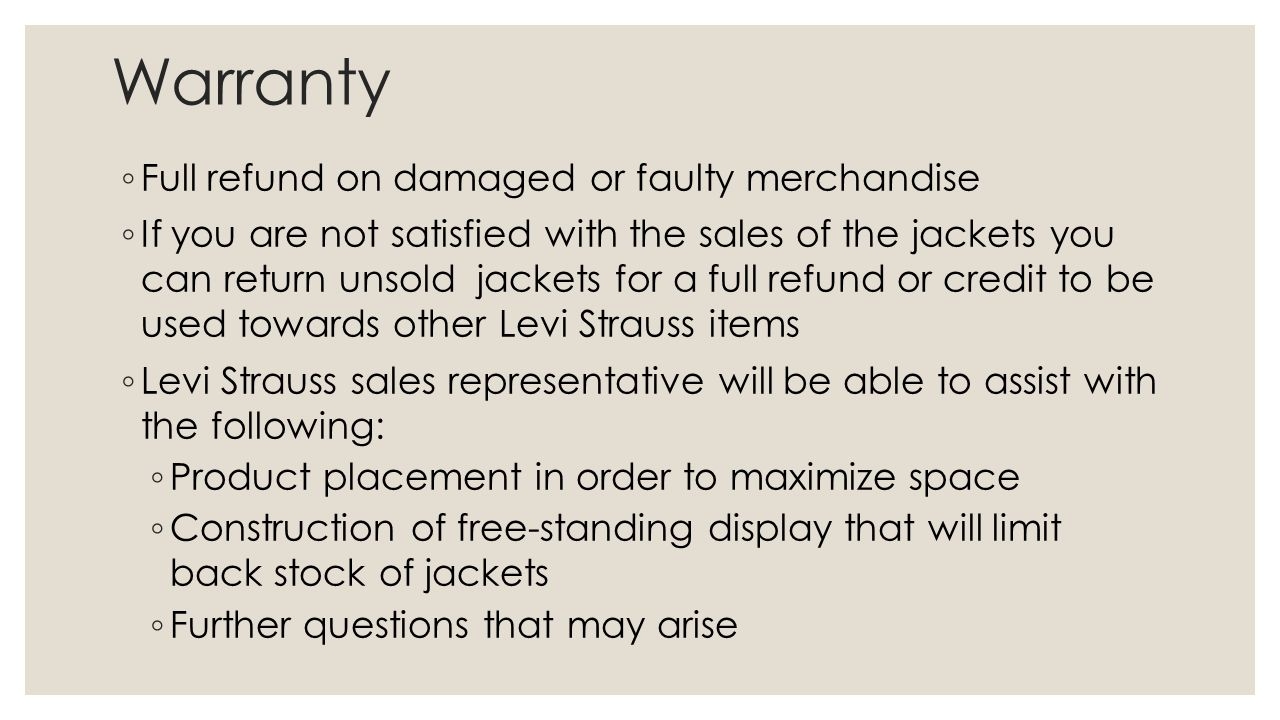 Warranty Full refund on damaged or faulty merchandise