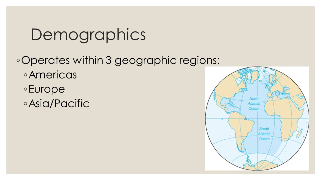 Demographics Operates within 3 geographic regions: Americas Europe