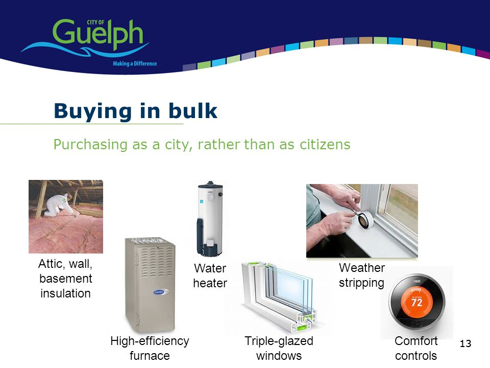 Buying in bulk Purchasing as a city, rather than as citizens