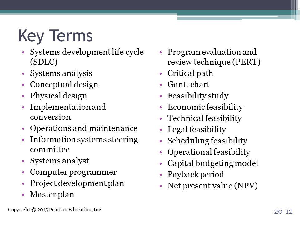 Key Terms Systems development life cycle (SDLC) Systems analysis