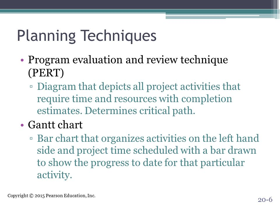 Planning Techniques Program evaluation and review technique (PERT)