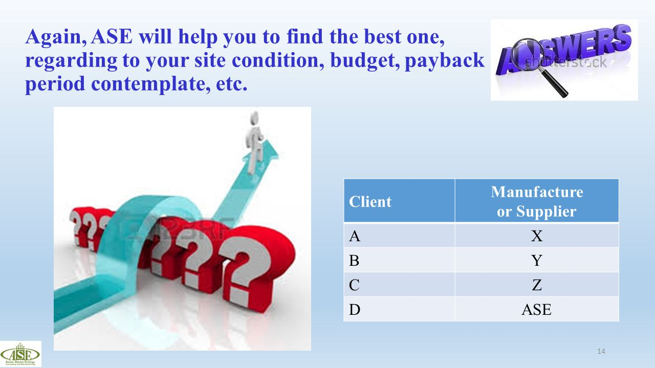 Again, ASE will help you to find the best one, regarding to your site condition, budget, payback period contemplate, etc.