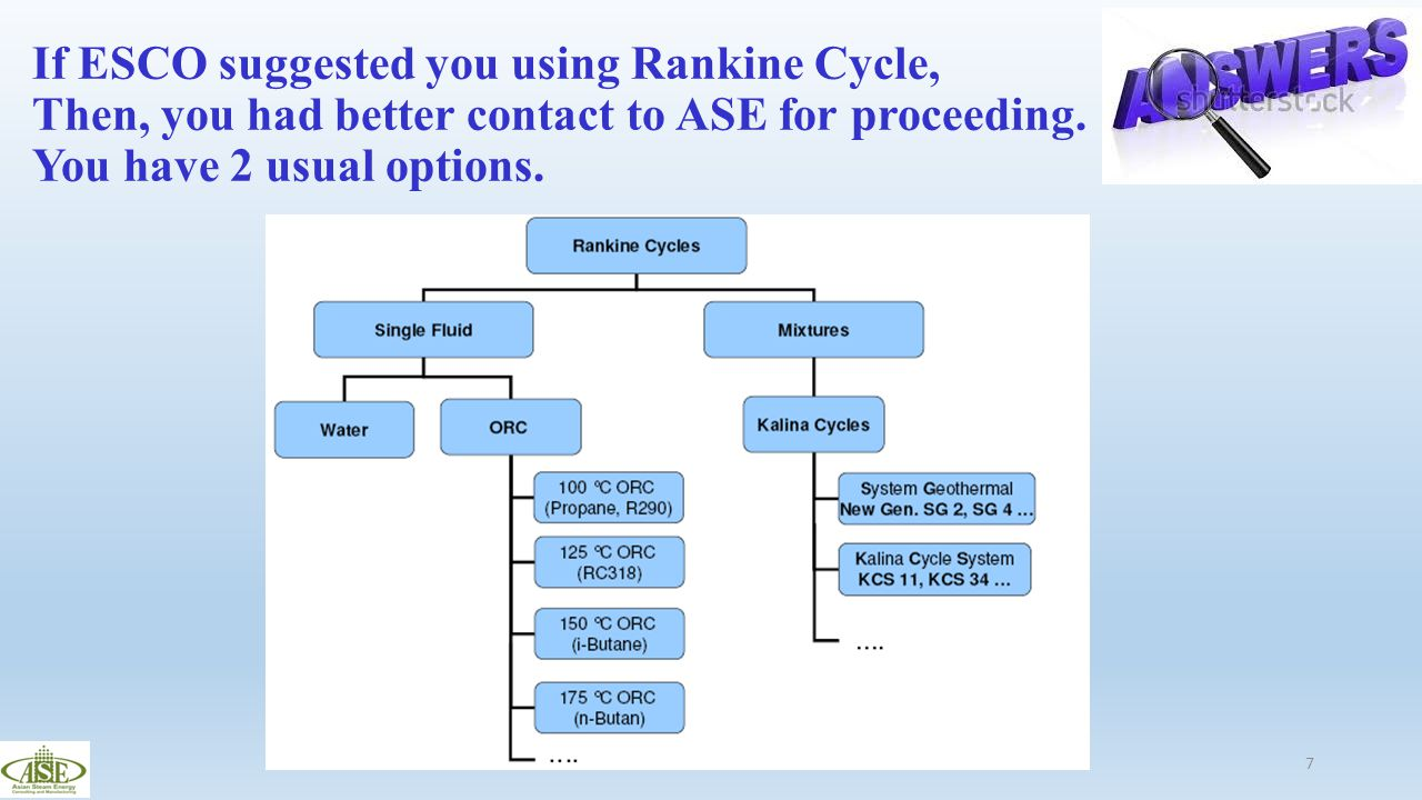 If ESCO suggested you using Rankine Cycle, Then, you had better contact to ASE for proceeding.