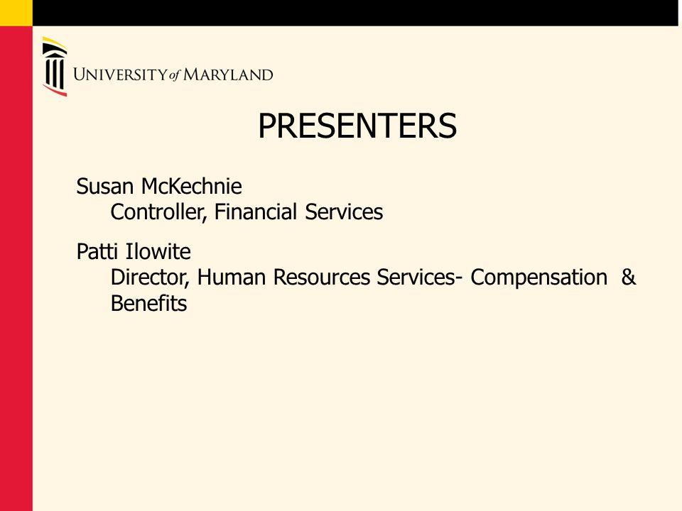 PRESENTERS Susan McKechnie Controller, Financial Services