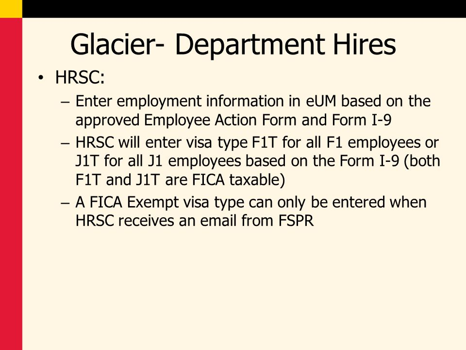 Glacier- Department Hires