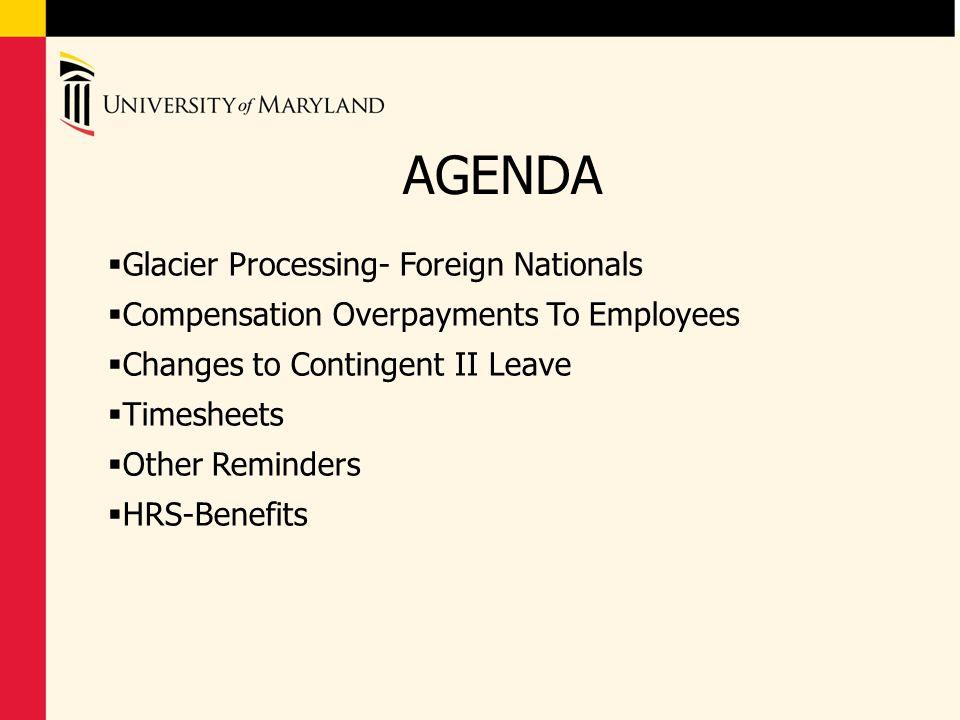 AGENDA Glacier Processing- Foreign Nationals
