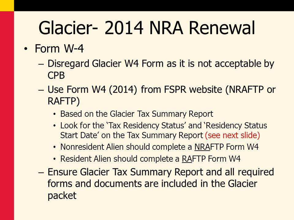 Glacier- 2014 NRA Renewal Form W-4