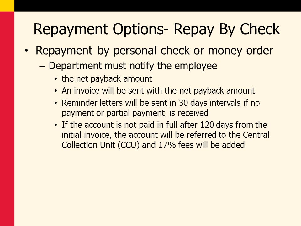 Repayment Options- Repay By Check