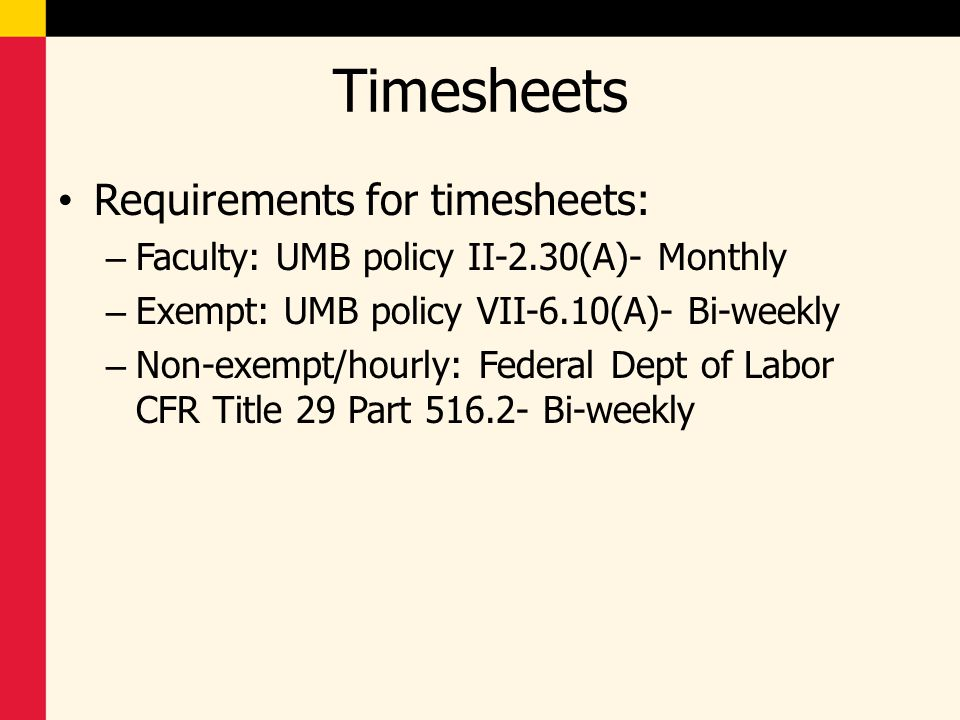 Timesheets Requirements for timesheets: