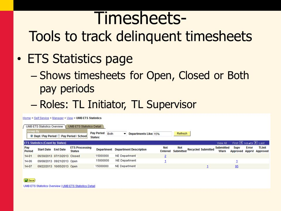 Timesheets- Tools to track delinquent timesheets