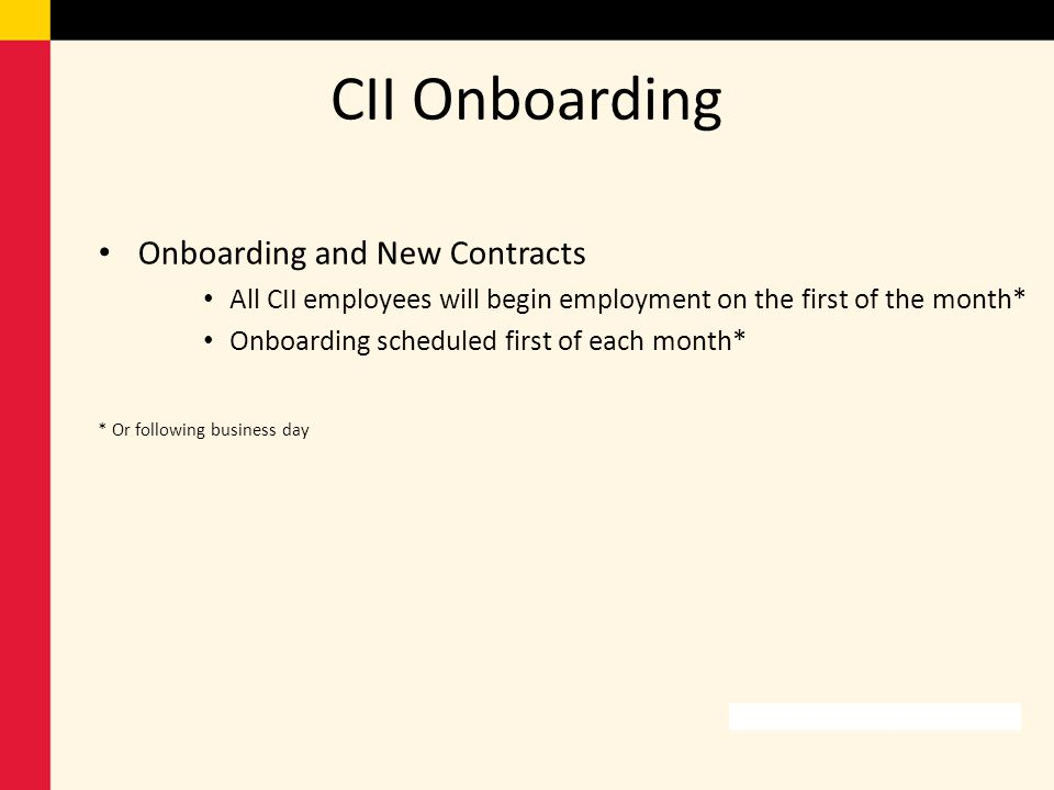 CII Onboarding Onboarding and New Contracts