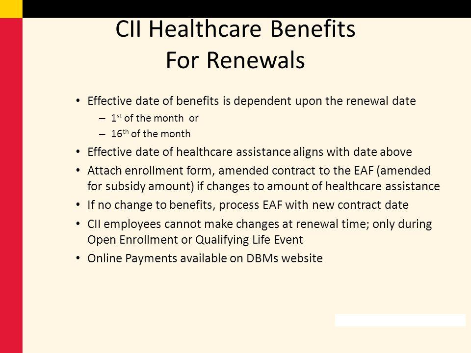 CII Healthcare Benefits For Renewals