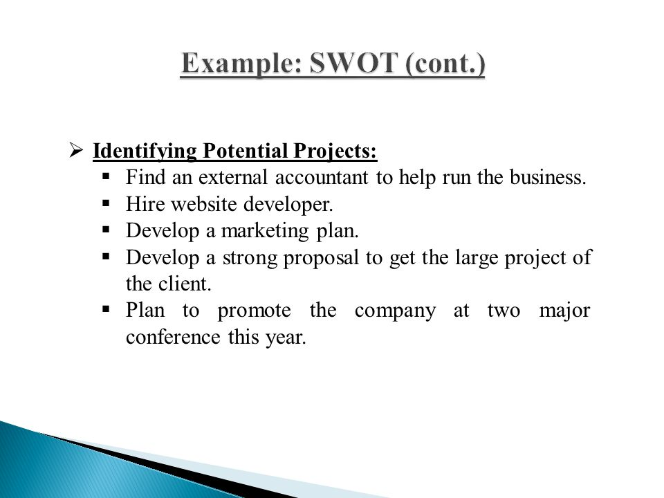 Example: SWOT (cont.) Identifying Potential Projects: