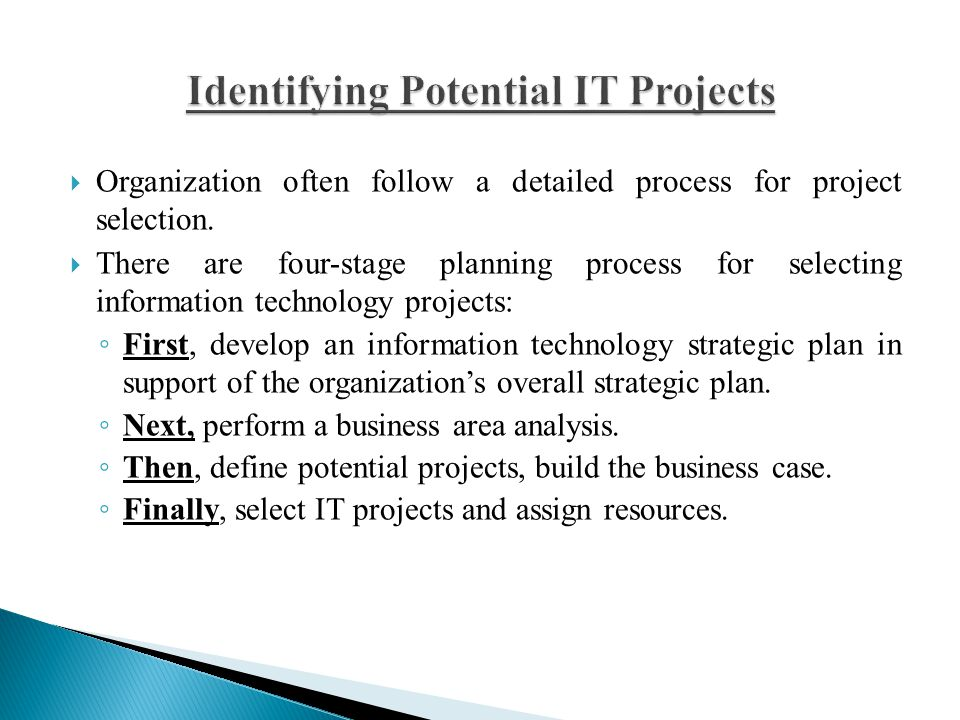 Identifying Potential IT Projects