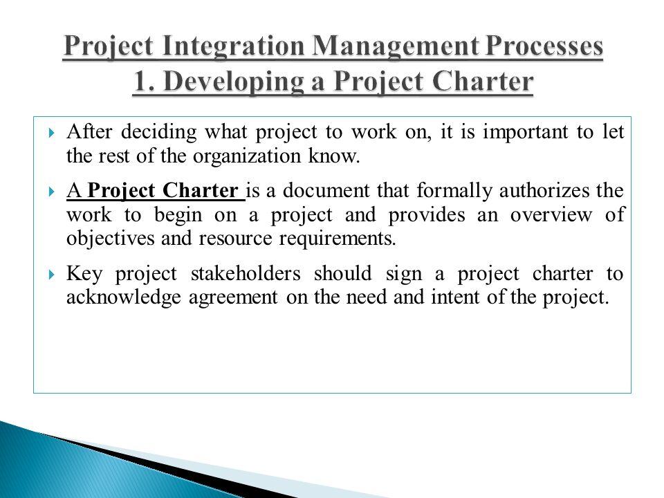 Project Integration Management Processes 1