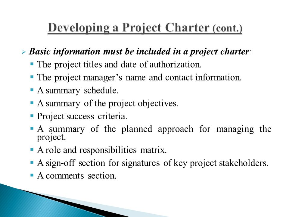 Developing a Project Charter (cont.)