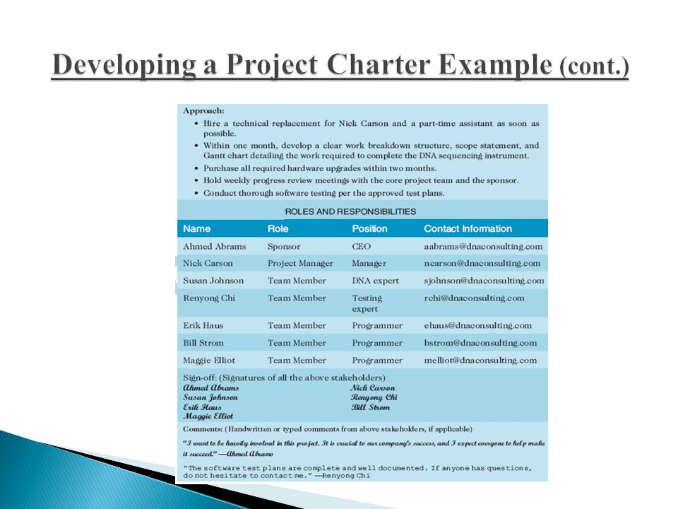 Developing a Project Charter Example (cont.)