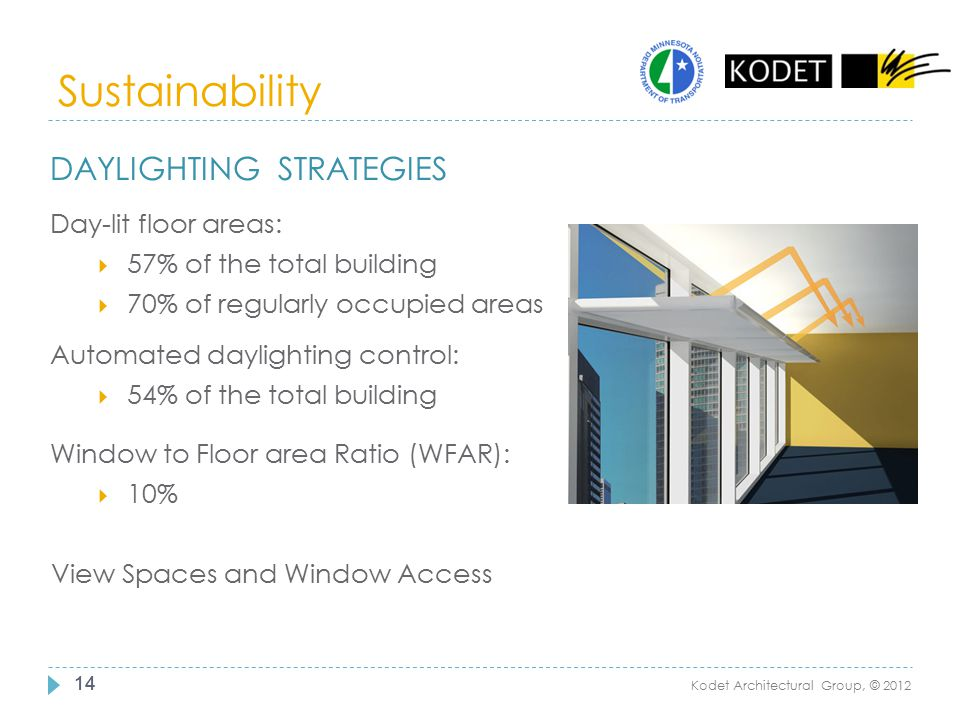 Sustainability Daylighting strategies Day-lit floor areas: