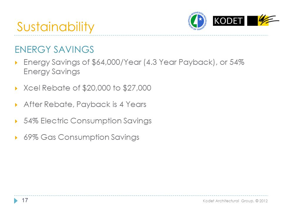 Sustainability Energy savings