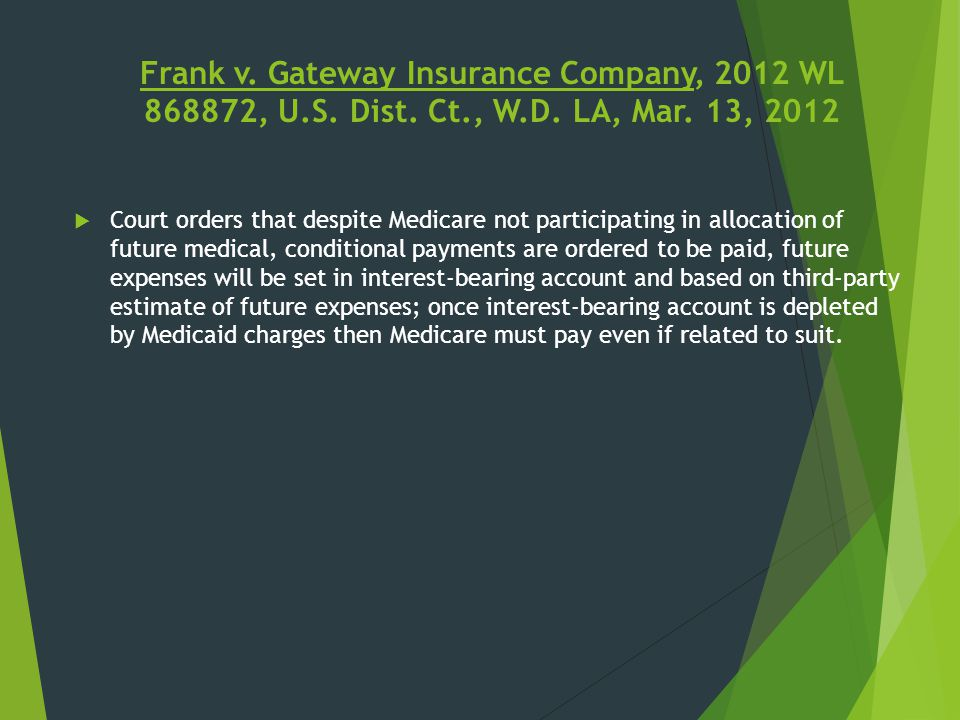 Frank v. Gateway Insurance Company, 2012 WL 868872, U.S. Dist. Ct., W.D. LA, Mar. 13, 2012