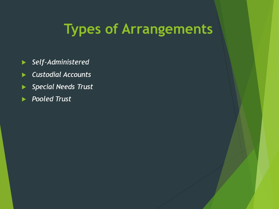 Types of Arrangements Self-Administered Custodial Accounts