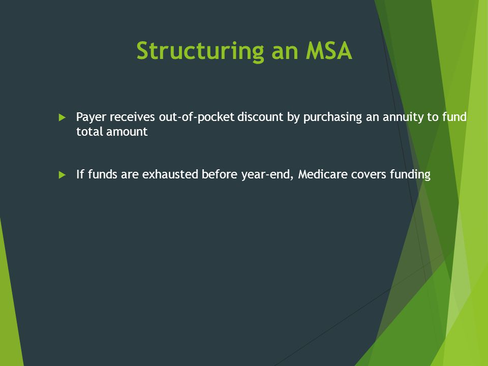 Structuring an MSA Payer receives out-of-pocket discount by purchasing an annuity to fund total amount.