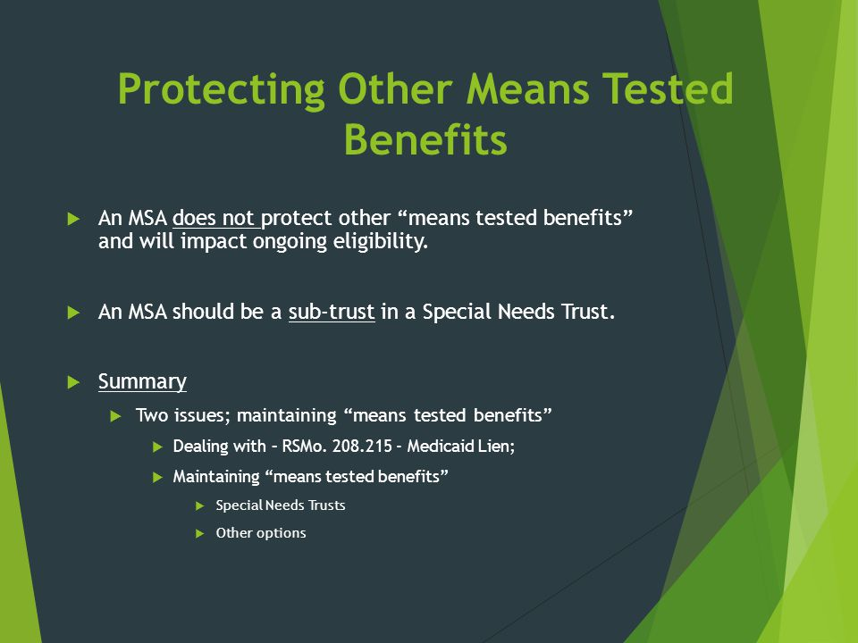 Protecting Other Means Tested Benefits