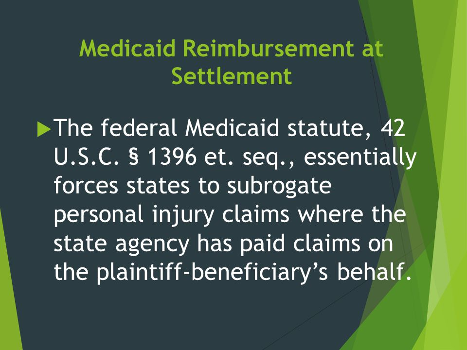 Medicaid Reimbursement at Settlement