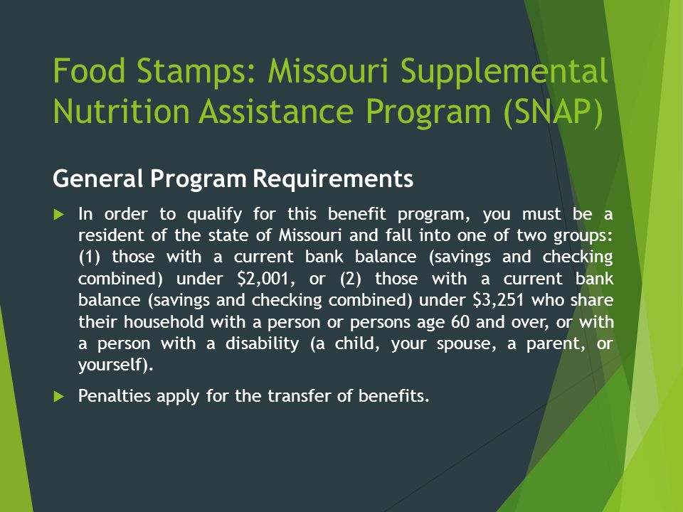 Food Stamps: Missouri Supplemental Nutrition Assistance Program (SNAP)