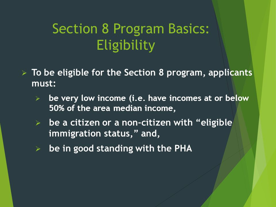 Section 8 Program Basics: Eligibility