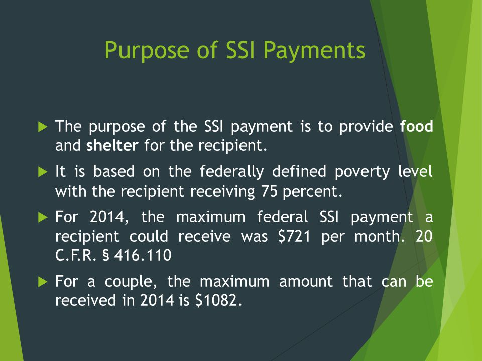 Purpose of SSI Payments