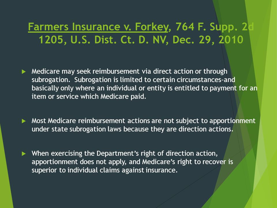 Farmers Insurance v. Forkey, 764 F. Supp. 2d 1205, U. S. Dist. Ct. D