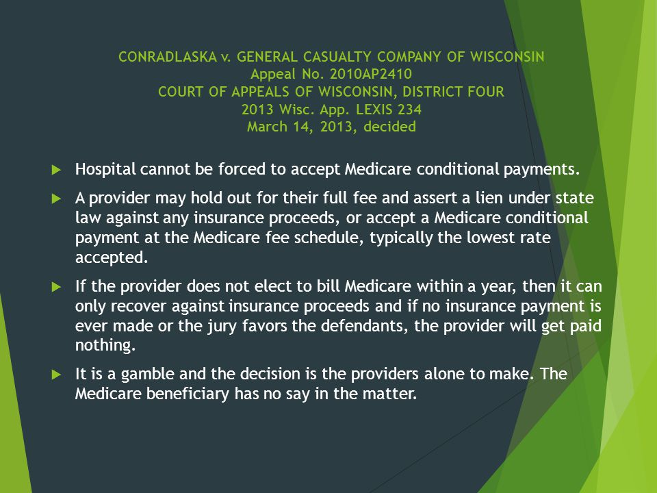 Hospital cannot be forced to accept Medicare conditional payments.