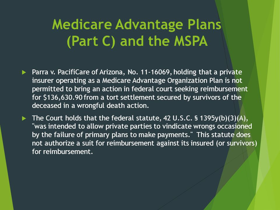 Medicare Advantage Plans (Part C) and the MSPA