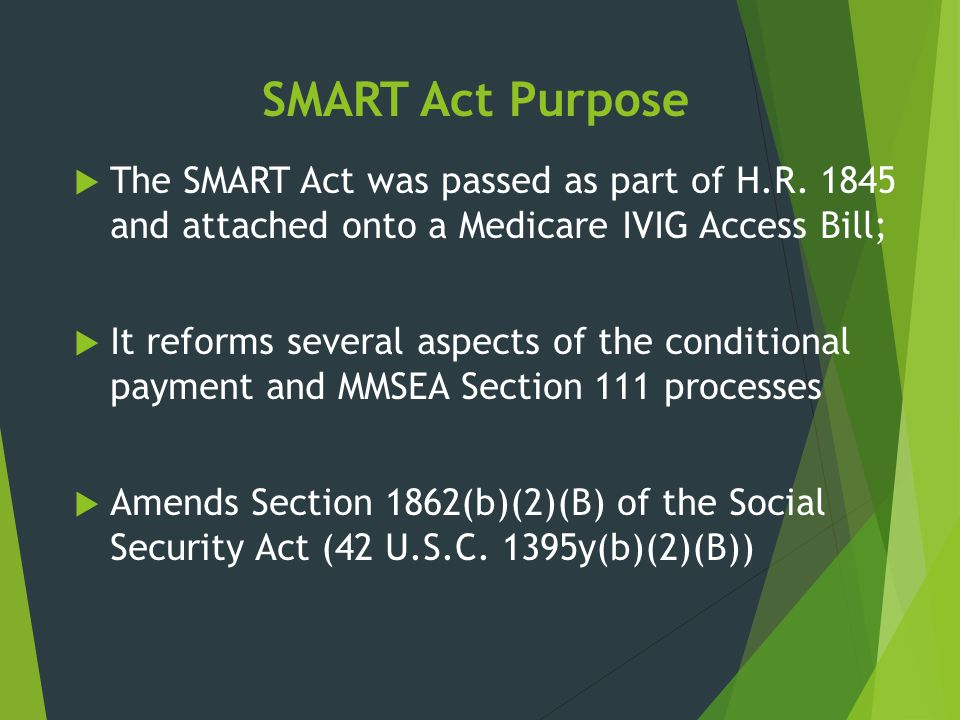 SMART Act Purpose The SMART Act was passed as part of H.R. 1845 and attached onto a Medicare IVIG Access Bill;