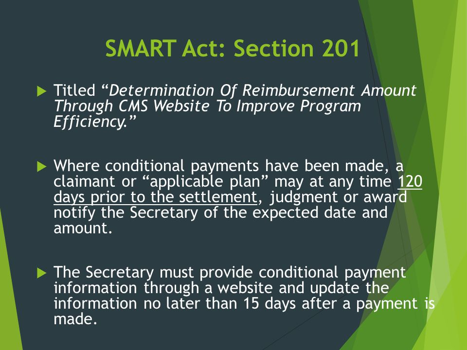 SMART Act: Section 201 Titled Determination Of Reimbursement Amount Through CMS Website To Improve Program Efficiency.